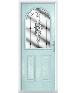 The Edinburgh Composite Door in Blue (Duck Egg) with Red Crystal Bohemia