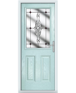 The Farnborough Composite Door in Blue (Duck Egg) with Red Crystal Bohemia