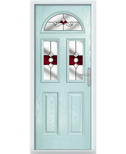 The Glasgow Composite Door in Blue (Duck Egg) with Red Crystal Bohemia