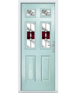 The Oxford Composite Door in Blue (Duck Egg) with Red Crystal Bohemia