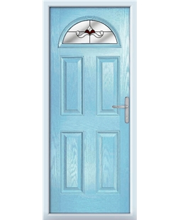 The Derby Composite Door in Blue (Duck Egg) with Red Crystal Bohemia