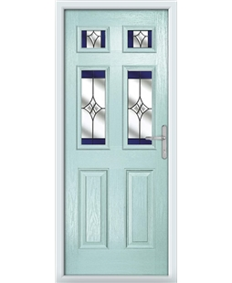 The Oxford Composite Door in Blue (Duck Egg) with Blue Crystal Harmony