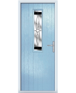 The Sheffield Composite Door in Blue (Duck Egg) with Black Crystal Harmony