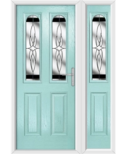The Aberdeen Composite Door in Blue (Duck Egg) with Black Crystal Harmony and matching Side Panel