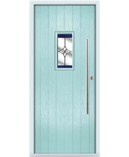 The Zetland Composite Door in Blue (Duck Egg) with Blue Crystal Harmony