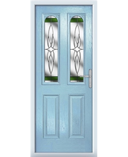 The Aberdeen Composite Door in Blue (Duck Egg) with Green Crystal Harmony