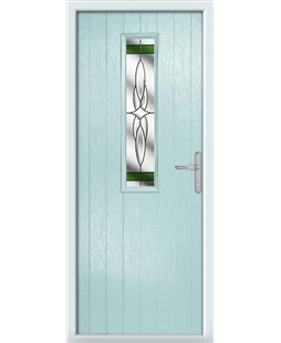 The Sheffield Composite Door in Blue (Duck Egg) with Green Crystal Harmony