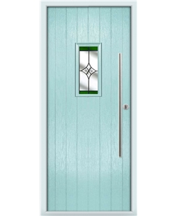 The Zetland Composite Door in Blue (Duck Egg) with Green Crystal Harmony