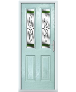 The Cardiff Composite Door in Blue (Duck Egg) with Green Crystal Harmony