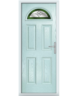 The Derby Composite Door in Blue (Duck Egg) with Green Crystal Harmony