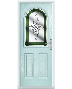 The Edinburgh Composite Door in Blue (Duck Egg) with Green Crystal Harmony