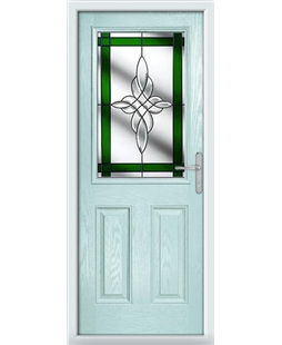 The Farnborough Composite Door in Blue (Duck Egg) with Green Crystal Harmony