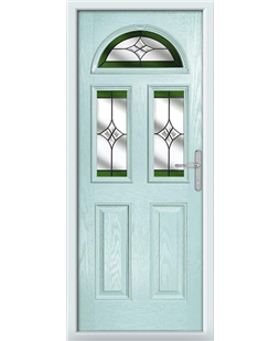The Glasgow Composite Door in Blue (Duck Egg) with Green Crystal Harmony