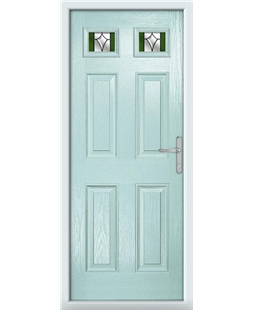 The Ipswich Composite Door in Blue (Duck Egg) with Green Crystal Harmony