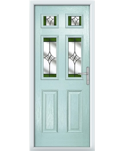 The Oxford Composite Door in Blue (Duck Egg) with Green Crystal Harmony
