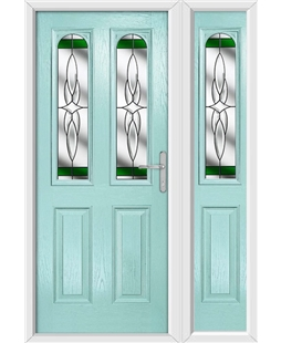 The Aberdeen Composite Door in Blue (Duck Egg) with Green Crystal Harmony and matching Side Panel