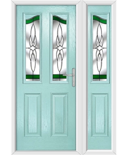 The Birmingham Composite Door in Blue (Duck Egg) with Green Crystal Harmony and matching Side Panel