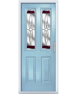 The Aberdeen Composite Door in Blue (Duck Egg) with Red Crystal Harmony