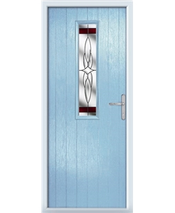 The Sheffield Composite Door in Blue (Duck Egg) with Red Crystal Harmony