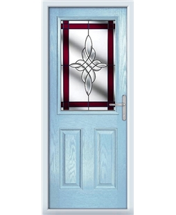 The Farnborough Composite Door in Blue (Duck Egg) with Red Crystal Harmony