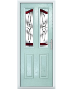 The Birmingham Composite Door in Blue (Duck Egg) with Red Crystal Harmony