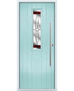 The York Composite Door in Blue (Duck Egg) with Red Crystal Harmony