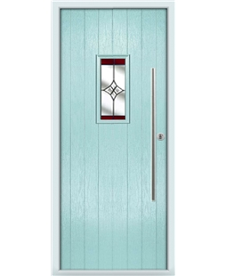 The Zetland Composite Door in Blue (Duck Egg) with Red Crystal Harmony