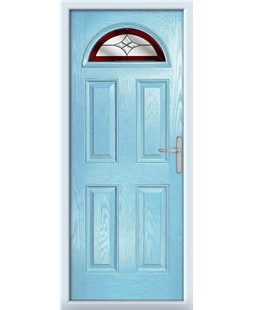The Derby Composite Door in Blue (Duck Egg) with Red Crystal Harmony