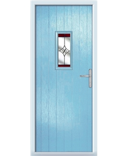 The Taunton Composite Door in Blue (Duck Egg) with Red Crystal Harmony