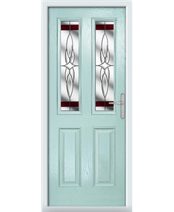 The Cardiff Composite Door in Blue (Duck Egg) with Red Crystal Harmony