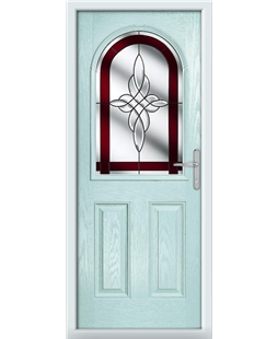 The Edinburgh Composite Door in Blue (Duck Egg) with Red Crystal Harmony