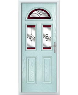 The Glasgow Composite Door in Blue (Duck Egg) with Red Crystal Harmony