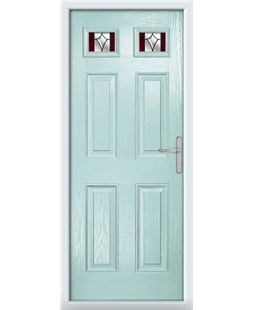 The Ipswich Composite Door in Blue (Duck Egg) with Red Crystal Harmony