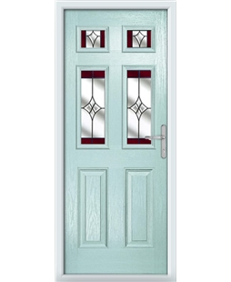The Oxford Composite Door in Blue (Duck Egg) with Red Crystal Harmony