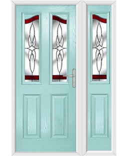 The Birmingham Composite Door in Blue (Duck Egg) with Red Crystal Harmony and matching Side Panel