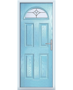 The Derby Composite Door in Blue (Duck Egg) with Crystal Tulip Arch