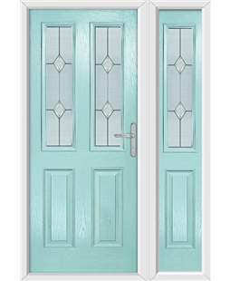 The Cardiff Composite Door in Blue (Duck Egg) with Classic Glazing and matching Side Panel