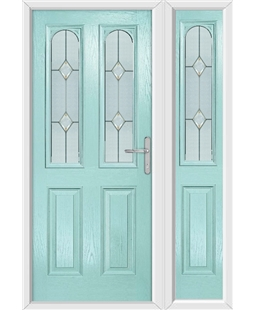 The Aberdeen Composite Door in Blue (Duck Egg) with Classic Glazing and matching Side Panel