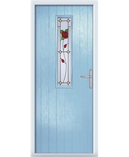 The Sheffield Composite Door in Blue (Duck Egg) with English Rose