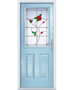 The Farnborough Composite Door in Blue (Duck Egg) with English Rose