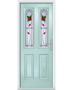 The Aberdeen Composite Door in Blue (Duck Egg) with English Rose