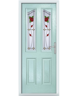 The Birmingham Composite Door in Blue (Duck Egg) with English Rose