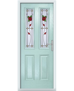 The Cardiff Composite Door in Blue (Duck Egg) with English Rose