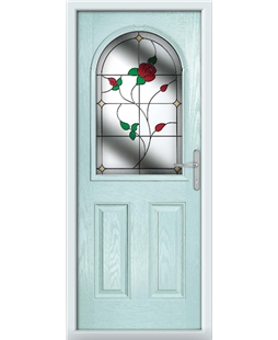 The Edinburgh Composite Door in Blue (Duck Egg) with English Rose