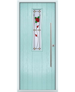 The York Composite Door in Blue (Duck Egg) with English Rose