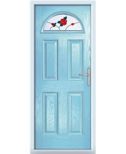 The Derby Composite Door in Blue (Duck Egg) with English Rose