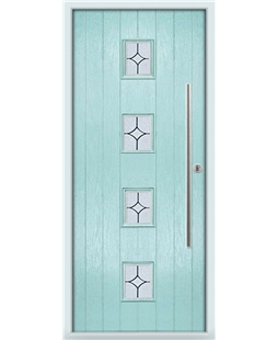 The Leicester Composite Door in Blue (Duck Egg) with Flair Glazing