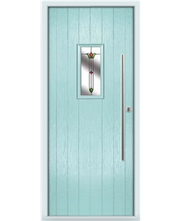 The Zetland Composite Door in Blue (Duck Egg) with Fleur