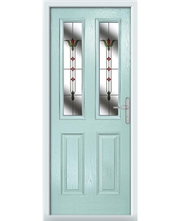 The Cardiff Composite Door in Blue (Duck Egg) with Fleur