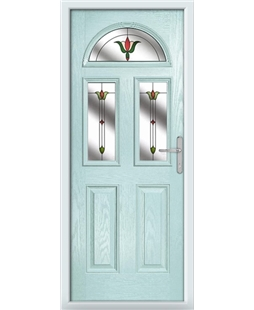 The Glasgow Composite Door in Blue (Duck Egg) with Fleur